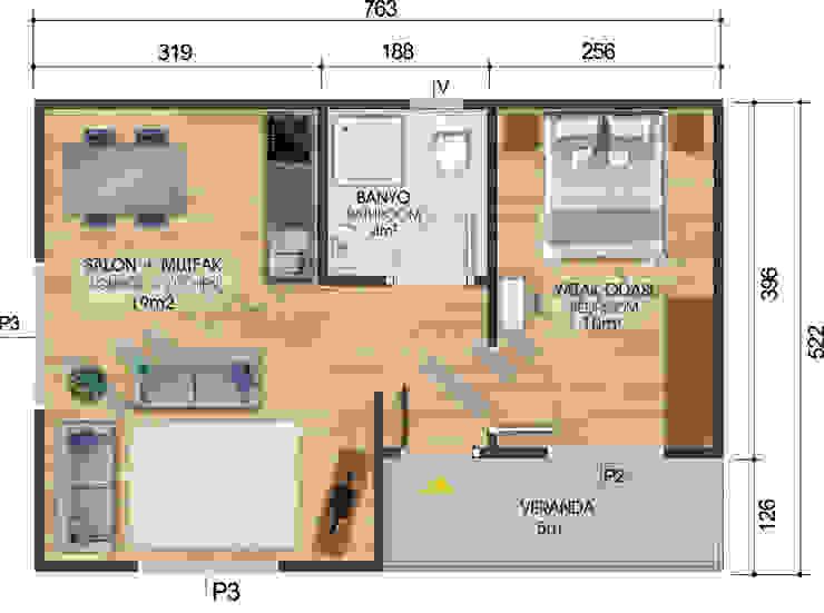 İç Plan VİLLA DİZAYN PREFABRİK Modern Yönlendirilmiş Yonga Levha