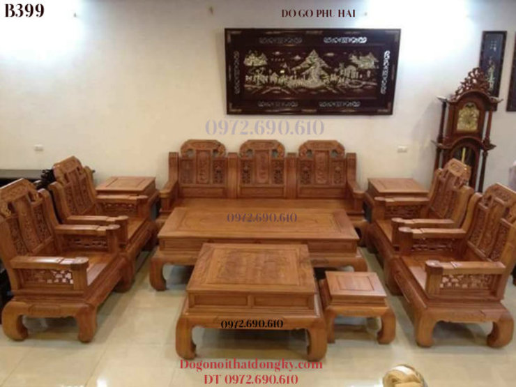 Bộ Bàn Ghế Gỗ Hương: hiện đại  by Do Go My Nghe Phu Hai, Hiện đại Bần