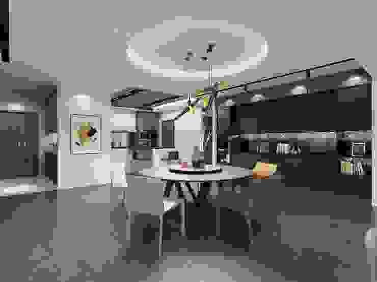 圓形的餐桌與天花板相互呼應 台中室內設計-築采設計 Modern dining room