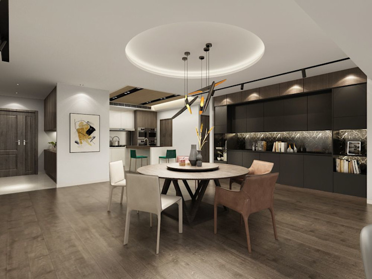 Ruang Makan Modern Oleh 台中室內設計-築采設計 Modern