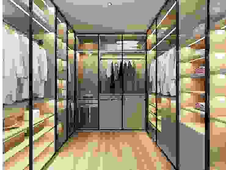 獨立的更衣室有龐大的收納空間 台中室內設計-築采設計 Modern dressing room