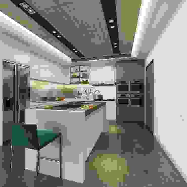 開放式的廚房規劃了中島吧檯 台中室內設計-築采設計 Kitchen units