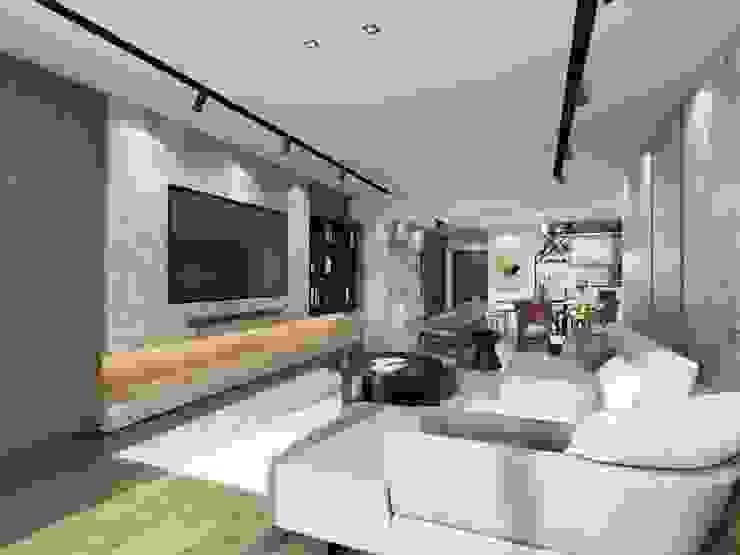 電視牆採用大理石材,並採用隱藏電線的設計手法 台中室內設計-築采設計 Modern living room