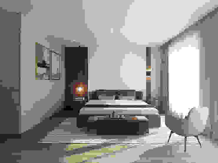 床頭牆的格柵設計別出心裁 台中室內設計-築采設計 Small bedroom