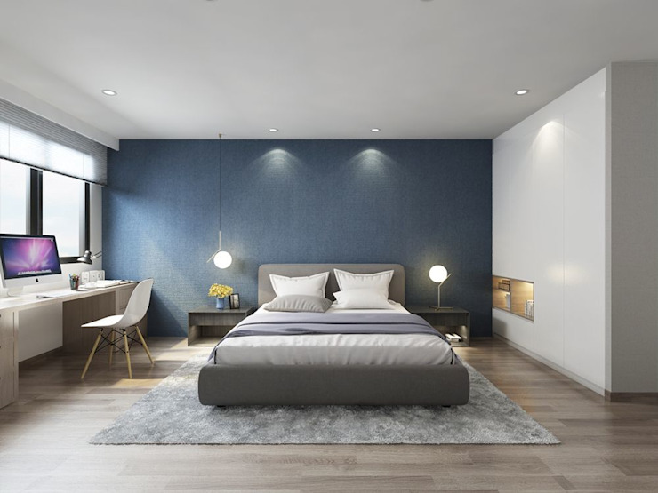 藍色的床頭牆讓整個空間帶有沉穩的氣質 台中室內設計-築采設計 Modern style bedroom