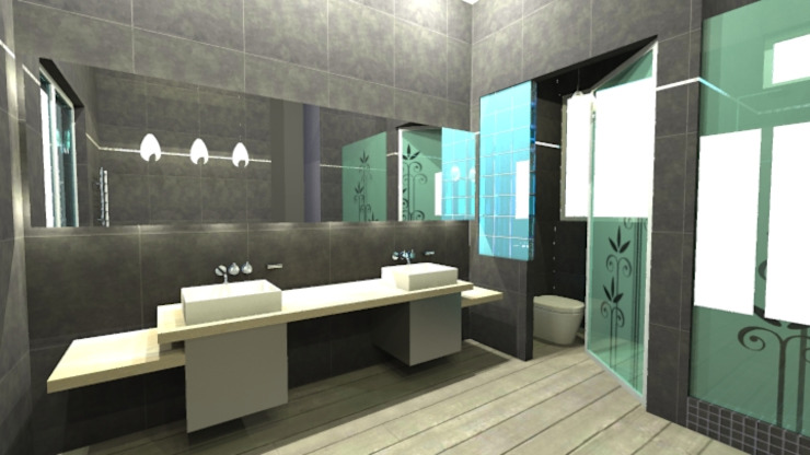 Waterfall House Modern bathroom by Bun Interior Design Modern