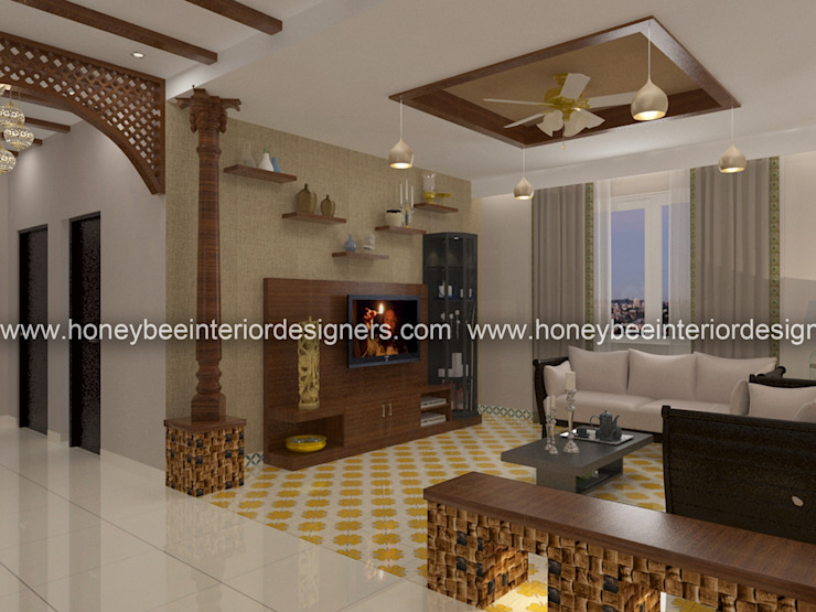 Living Area:  Living room by Honeybee Interior Designers