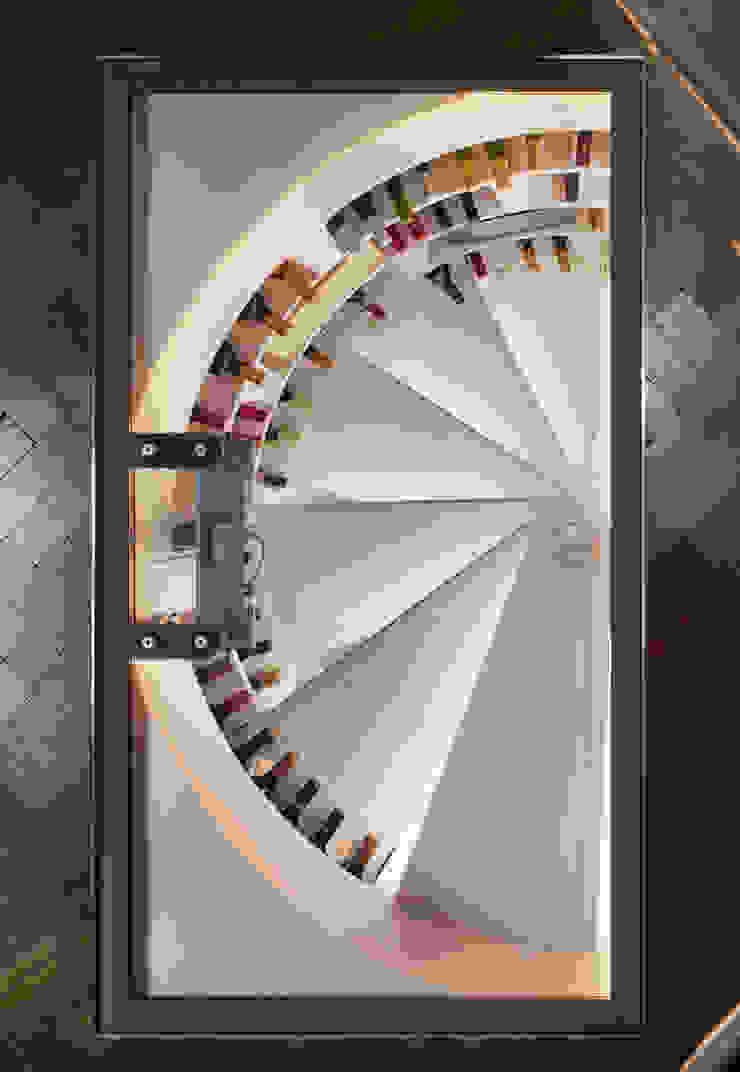 Top shot of White Spiral Cellar with rectangular glass door Modern wine cellar by Spiral Cellars Modern