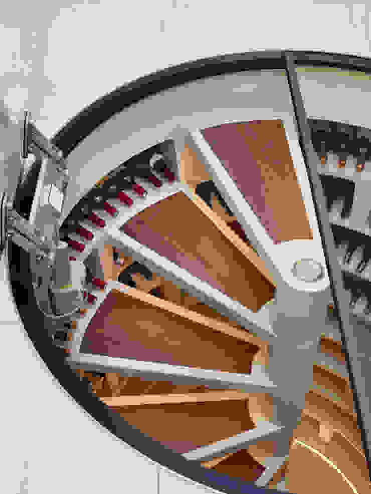 Amtico stair treads on White Spiral Cellar Modern wine cellar by Spiral Cellars Modern