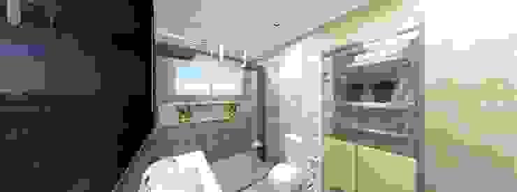 Residência INOVAT Arquitetura e interiores Banheiros modernos Mármore Bege
