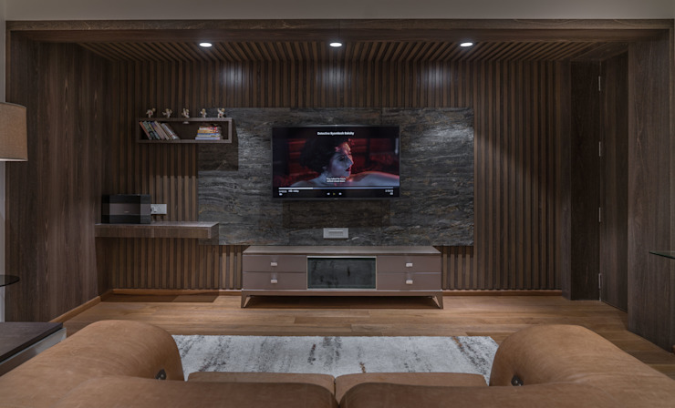tv unit in bedroom Modern Bedroom by F.Quad Architecture and Interior Design Studio Modern