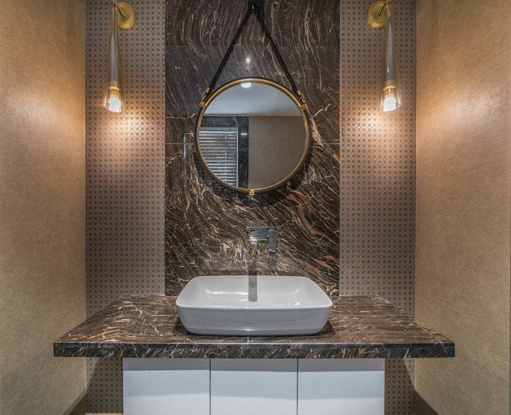 powder room Modern Bathroom by F.Quad Architecture and Interior Design Studio Modern