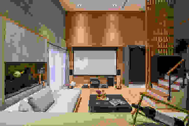 Гостиная в азиатском стиле от 解構室內設計 Азиатский Дерево Эффект древесины