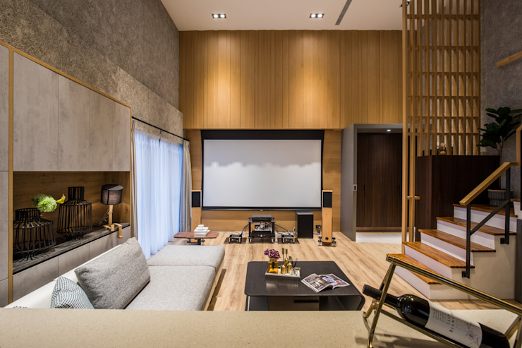 挑高客廳 by 解構室內設計 Asian Wood Wood effect