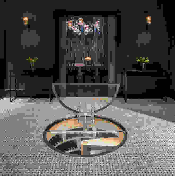 Hinged Round Glass Door on Original Spiral Cellar Modern Şarap Mahzeni Spiral Cellars Modern