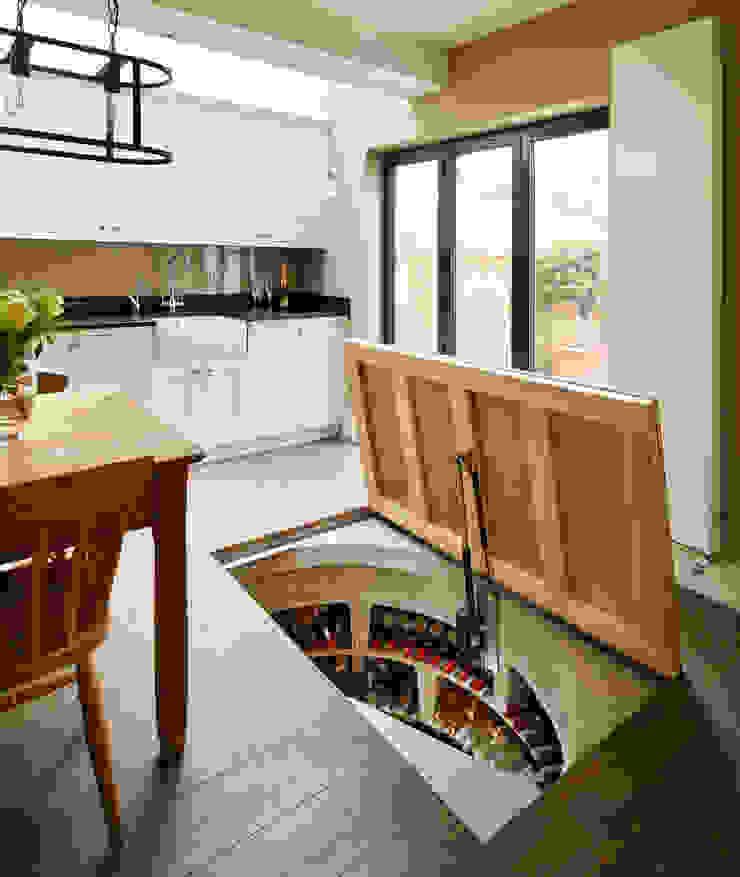 Concealed Door on Original Spiral Cellar Modern Şarap Mahzeni Spiral Cellars Modern