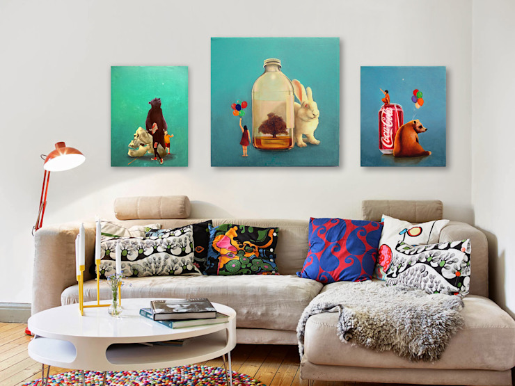 Obras de arte para family room Arca México Livings de estilo moderno