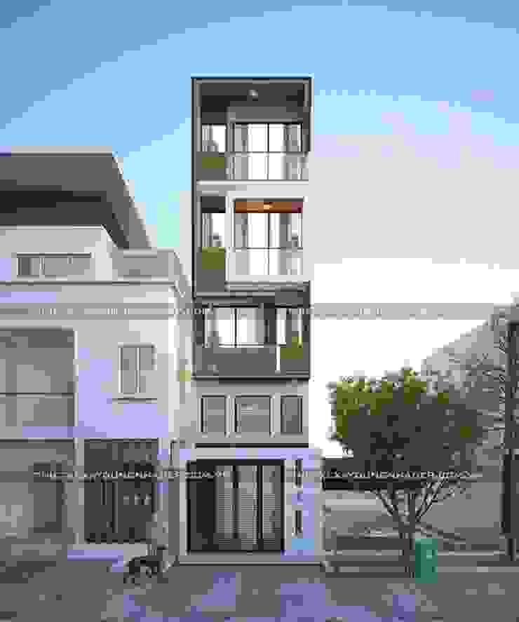 Những mẫu mặt tiền nhà ống đẹp hiện đại bởi Công ty cổ phần tư vấn kiến trúc xây dựng Nam Long