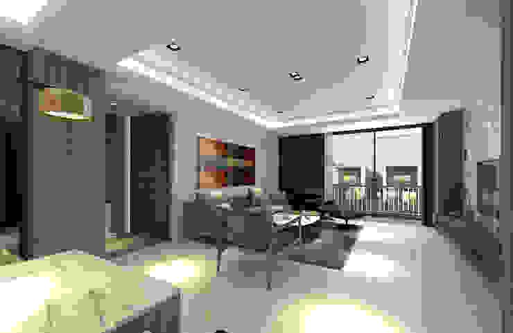 A設計之客廳 现代客厅設計點子、靈感 & 圖片 根據 青易國際設計 現代風