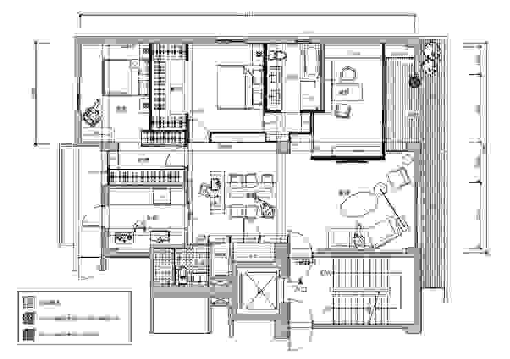 B設計之整體空間平面圖: 現代  by 青易國際設計, 現代風