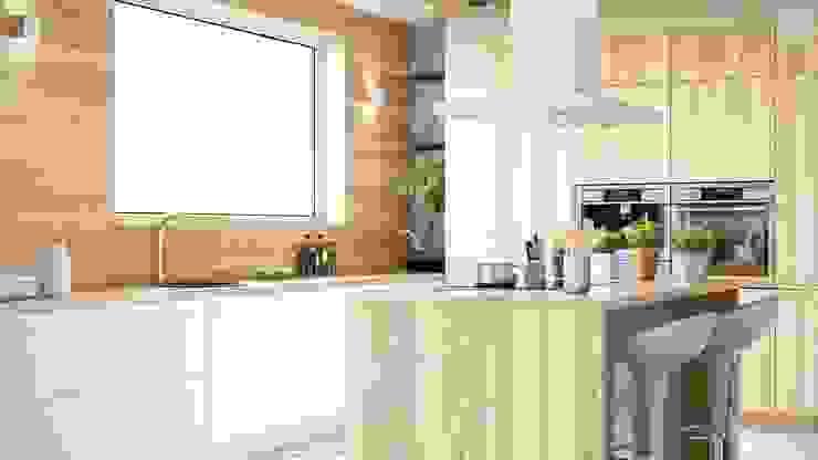 Biel, drewno i minimalistyczny okap NOMINA ISOLA 90 Minimalistyczna kuchnia od GLOBALO MAX Minimalistyczny
