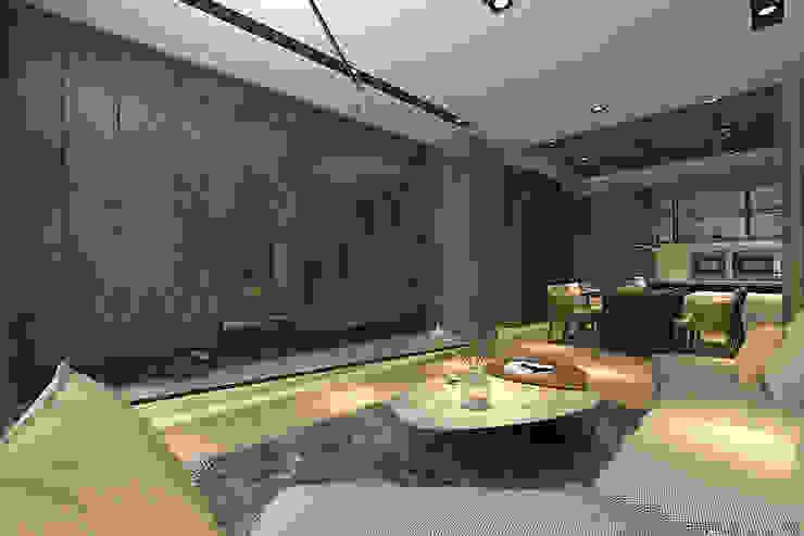 開放式客廳與餐廳相連 现代客厅設計點子、靈感 & 圖片 根據 青易國際設計 現代風