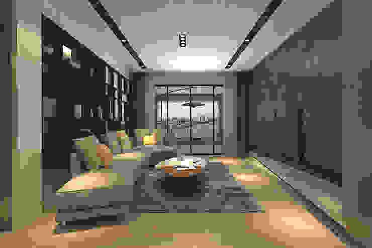 客廳直通大陽台 现代客厅設計點子、靈感 & 圖片 根據 青易國際設計 現代風