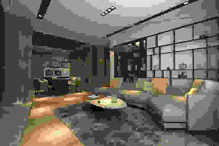 客廳另一視角 现代客厅設計點子、靈感 & 圖片 根據 青易國際設計 現代風