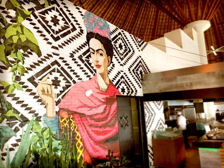 Ladrillo Blanco en Cancún Comedores modernos de EL CÉSAR DISEÑO EN ACABADOS Y DECORACIÓN Moderno Ladrillos