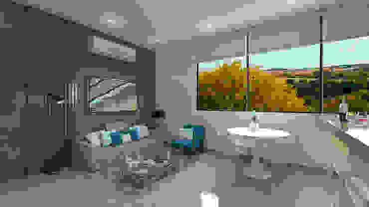 Sala de estar Salas de estilo moderno de Tabasca Architecture & Design Moderno Concreto