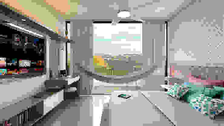 Habitación y Mueble de TV de Tabasca Architecture & Design Moderno Madera Acabado en madera