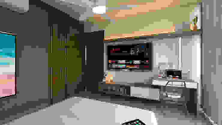 Mueble para TV y escritorio. de Tabasca Architecture & Design Moderno Madera Acabado en madera