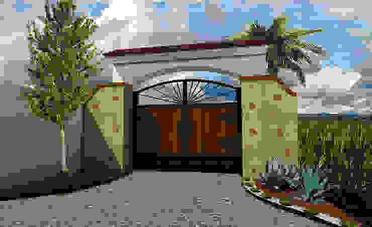 Ingreso Rancho la puerta colorada de AR Arquitectura y Diseño Rústico Madera Acabado en madera