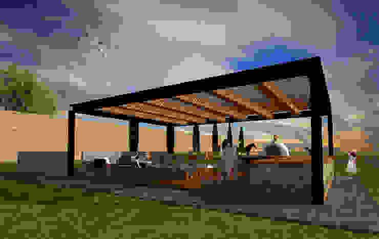 Terraza al aire libre Balcones y terrazas rústicos de AR Arquitectura y Diseño Rústico Hierro/Acero
