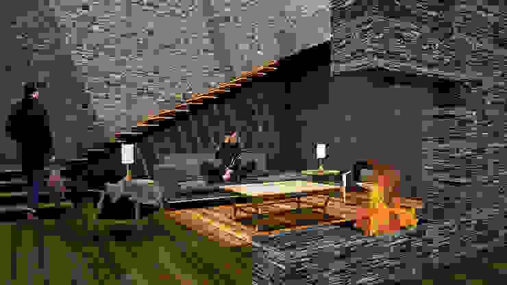 Sala con Chimenea Livings de estilo rústico de AR Arquitectura y Diseño Rústico Piedra