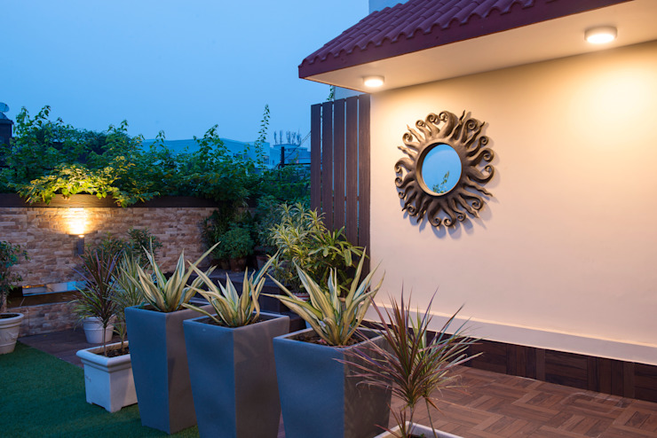 DEN +TERRACE GARDEN Modern balcony, veranda & terrace by VCJ DESIGNS Modern