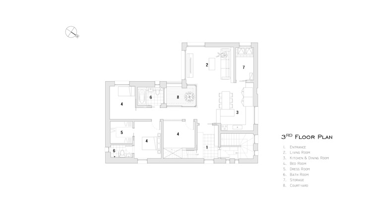 3층 평면.: SPACEPRIME ARCHITECTURE의 현대 ,모던