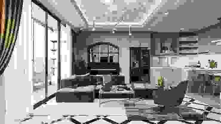 Phong cách Art Deco và New York Style kết hợp trong thiết kế nội thất căn hộ Vinhomes Golden River bởi ICON INTERIOR Hiện đại