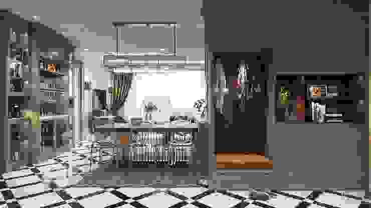 Phong cách Art Deco và New York Style kết hợp trong thiết kế nội thất căn hộ Vinhomes Golden River Phòng ăn phong cách hiện đại bởi ICON INTERIOR Hiện đại