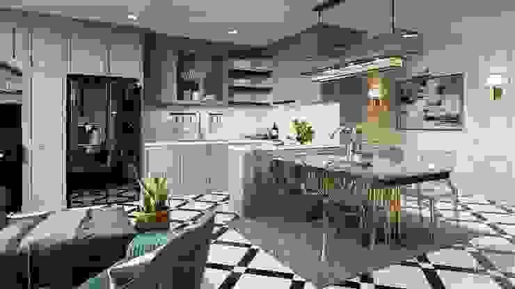 Phong cách Art Deco và New York Style kết hợp trong thiết kế nội thất căn hộ Vinhomes Golden River Nhà bếp phong cách hiện đại bởi ICON INTERIOR Hiện đại