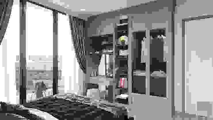 Phong cách Art Deco và New York Style kết hợp trong thiết kế nội thất căn hộ Vinhomes Golden River Phòng ngủ phong cách hiện đại bởi ICON INTERIOR Hiện đại