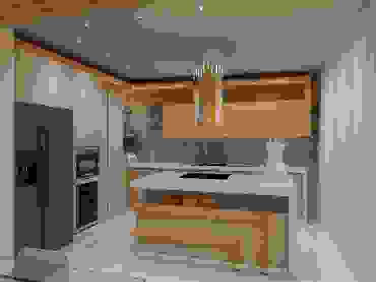 Angelourenzzo - Interior Design Cocinas pequeñas Acabado en madera