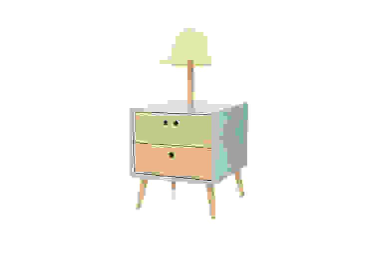 NEL bedside table with lamp - Baby Blue por DAM Campestre Madeira Acabamento em madeira