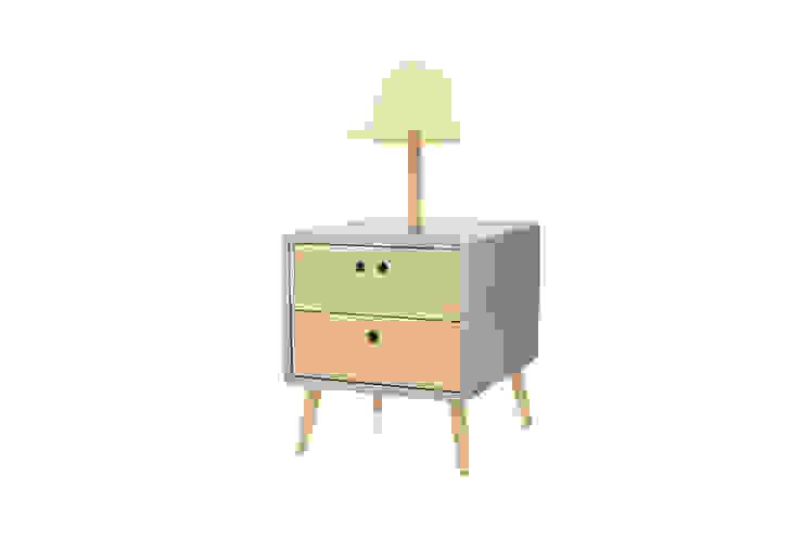 NEL bedside table with lamp - Elegant Grey por DAM Campestre Madeira Acabamento em madeira