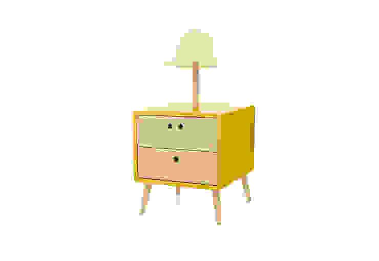 NEL bedside table with lamp - Dry Yellow por DAM Campestre Madeira Acabamento em madeira
