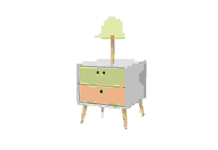 NEL bedside table with lamp - Light Grey por DAM Campestre Madeira Acabamento em madeira