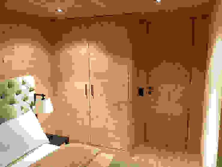 Schlafzimmer mit Kleiderschrank in Holz gebürstet, raumhoch:  Schlafzimmer von RH-Design Innenausbau, Möbel und Küchenbau Aarau,