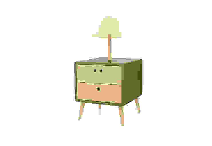 NEL bedside table with lamp - Sleepy Green por DAM Campestre Madeira Acabamento em madeira