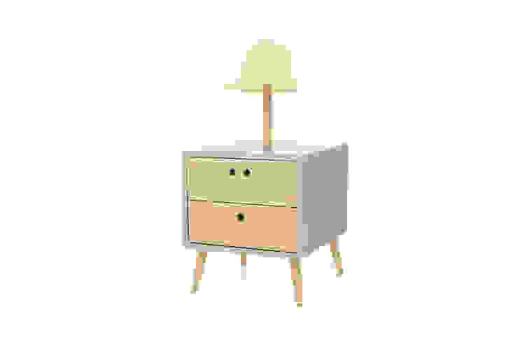 NEL bedside table with lamp - Soft Green por DAM Campestre Madeira Acabamento em madeira