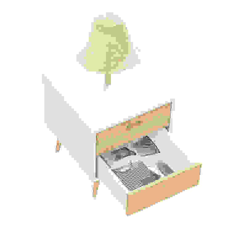 NEL bedside table with lamp (drawer's inner coating in wallpaper) por DAM Campestre Madeira Acabamento em madeira